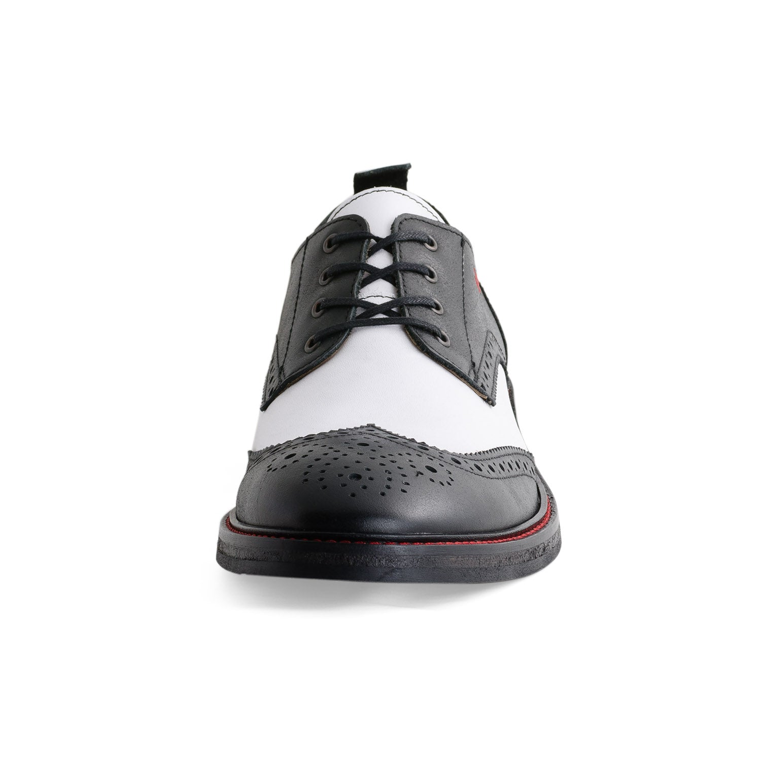 NiK Kacy Luxury, Handcrafted Black and White Wingtip Shoes Limited-Edition