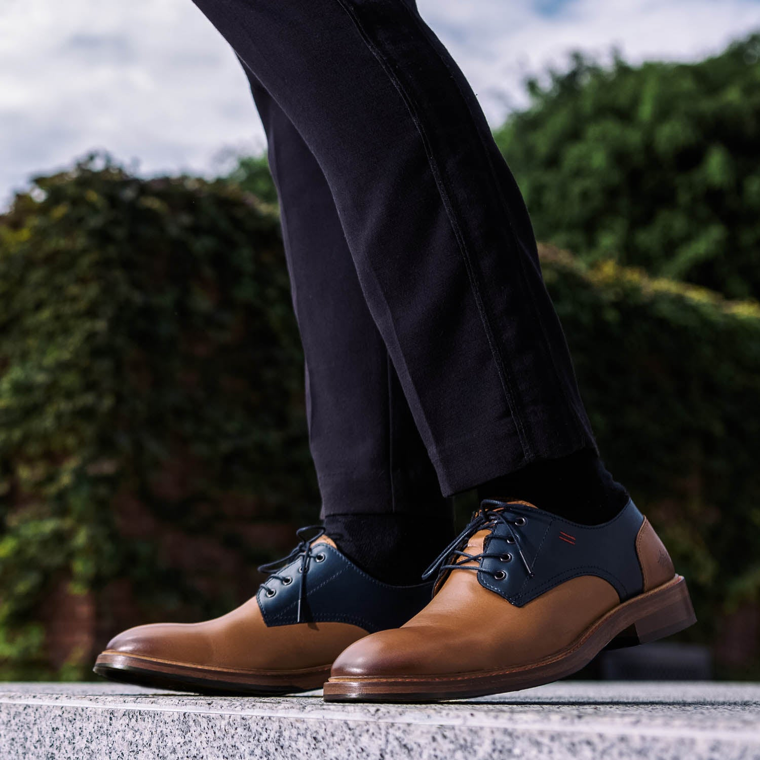 NiK Kacy Genderfree Luxury Footwear, handcrafted, genuine leather Brown and Blue Classic Derby's for all occasions