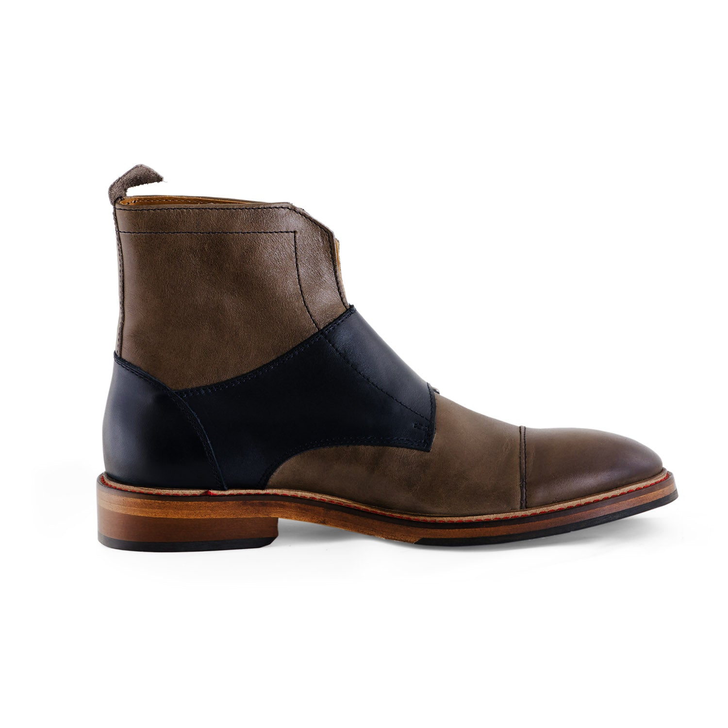 NiK Kacy Gender-Equal Gender-Neutral Luxury Monkstrap Boots in Navy Blue and Grey Genuine Leather