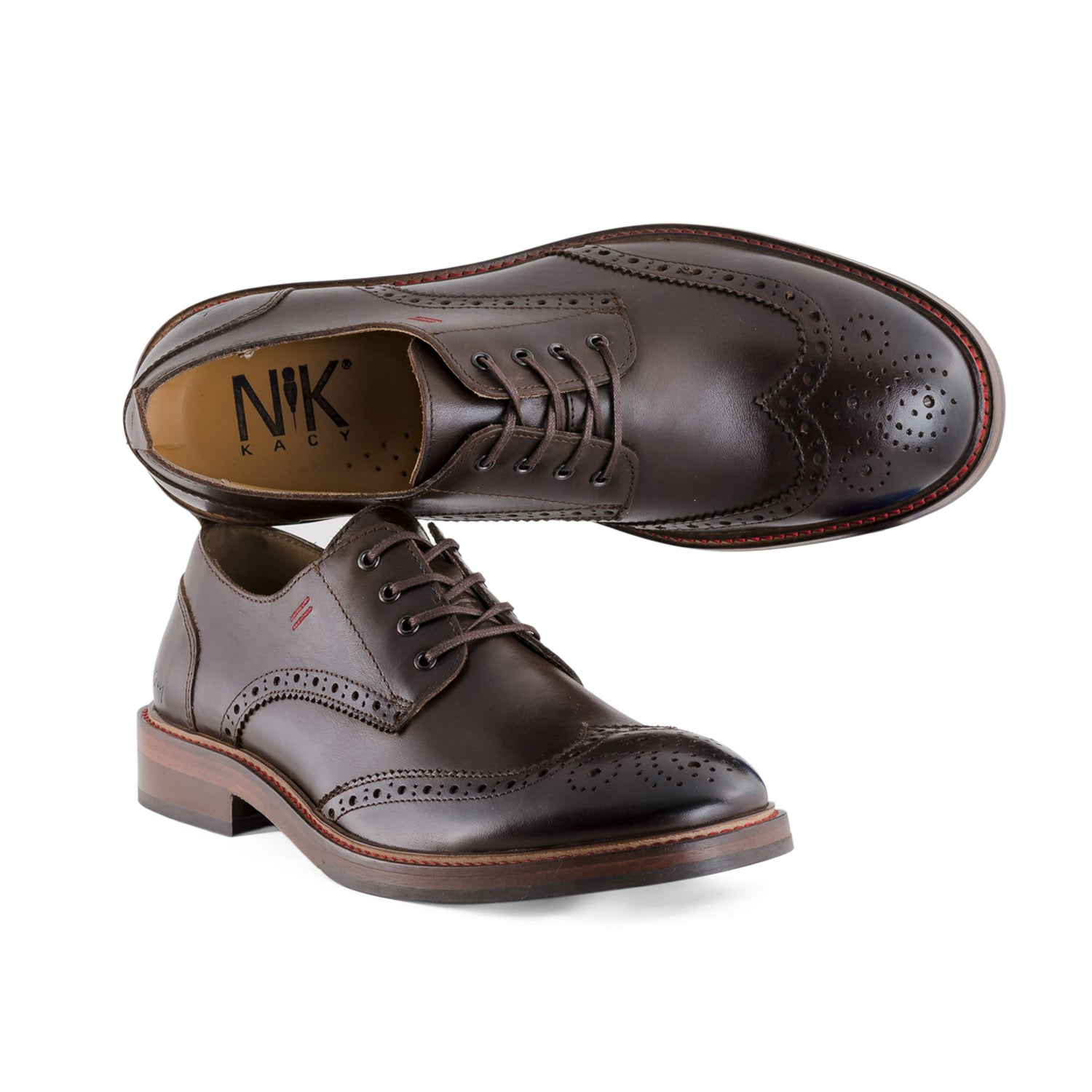 NiK Kacy Luxury, Handcrafted Dark Brown Wingtip Shoes Limited-Edition