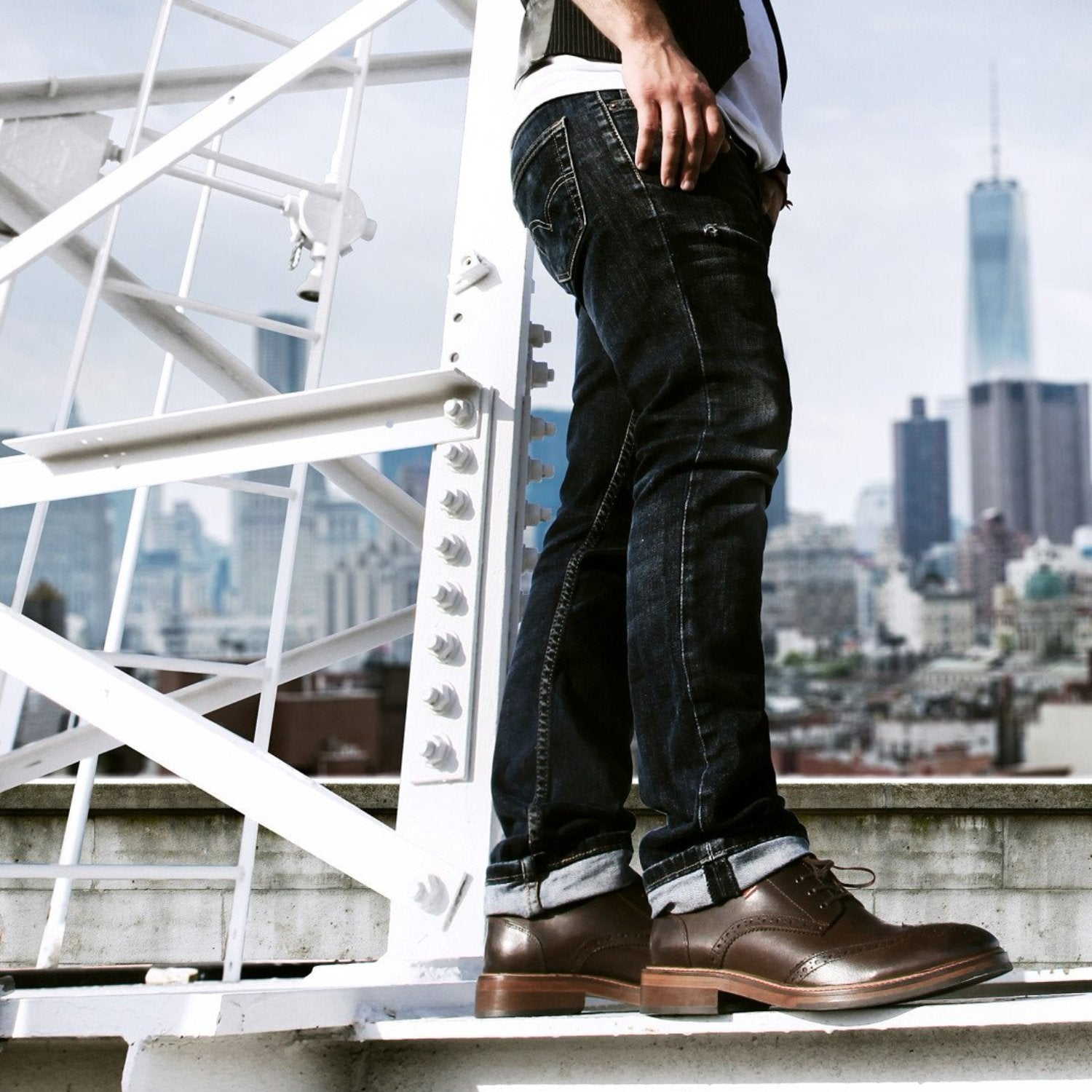 Charlie in our dark brown wingtips