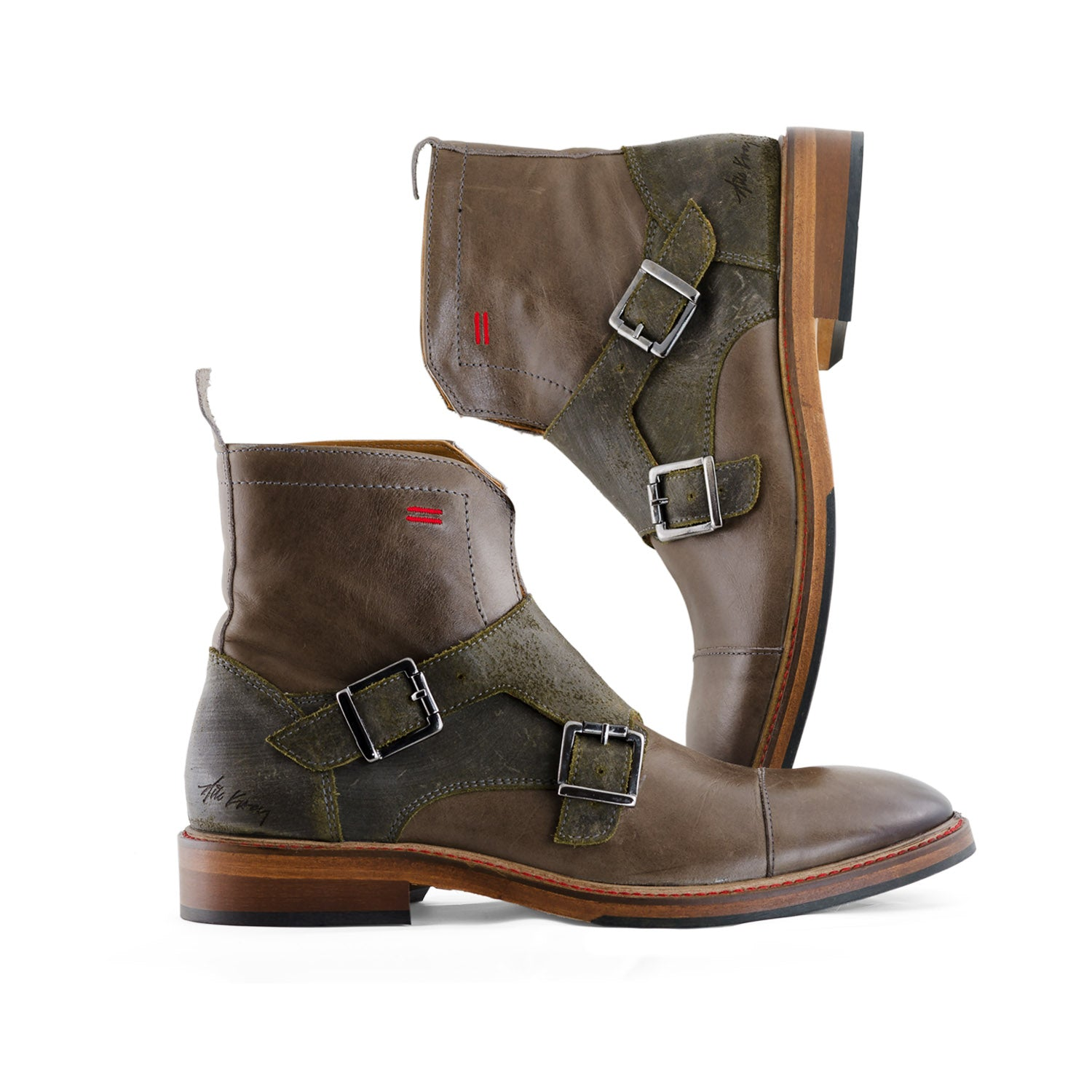 NiK Kacy Gender-Equal Gender-Neutral Luxury Monkstrap Boots in Desert Green and Grey Genuine Leather