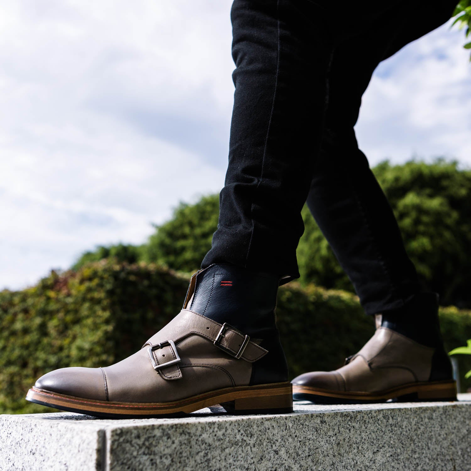 NiK Kacy Gender-Equal Gender-Neutral Luxury Monkstrap Boots in Reverse Navy Blue and Grey Genuine Leather. Walk Your Way!
