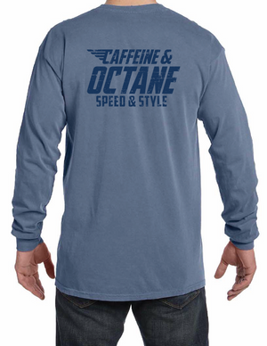 "C&O Long Sleeve Comfort Colors® ""Modern Stacked Logo"" Shirt - Blue Jean"