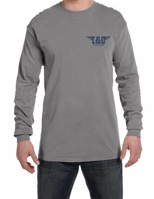 "C&O Long Sleeve Comfort Colors® ""Modern Stacked Logo"" Shirt - Grey"
