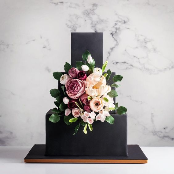 Top 9 Ways To Style A Black Wedding Cake