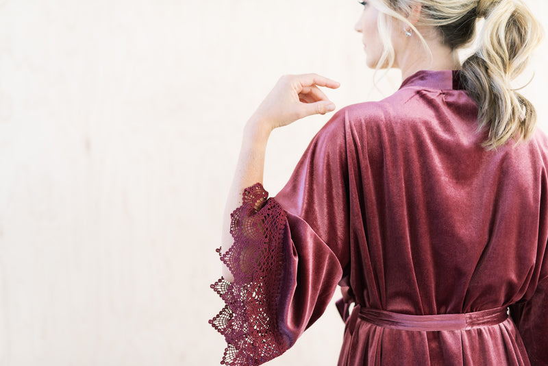 Mauve Velvet and Lace Bridal Robe For The Wedding Day