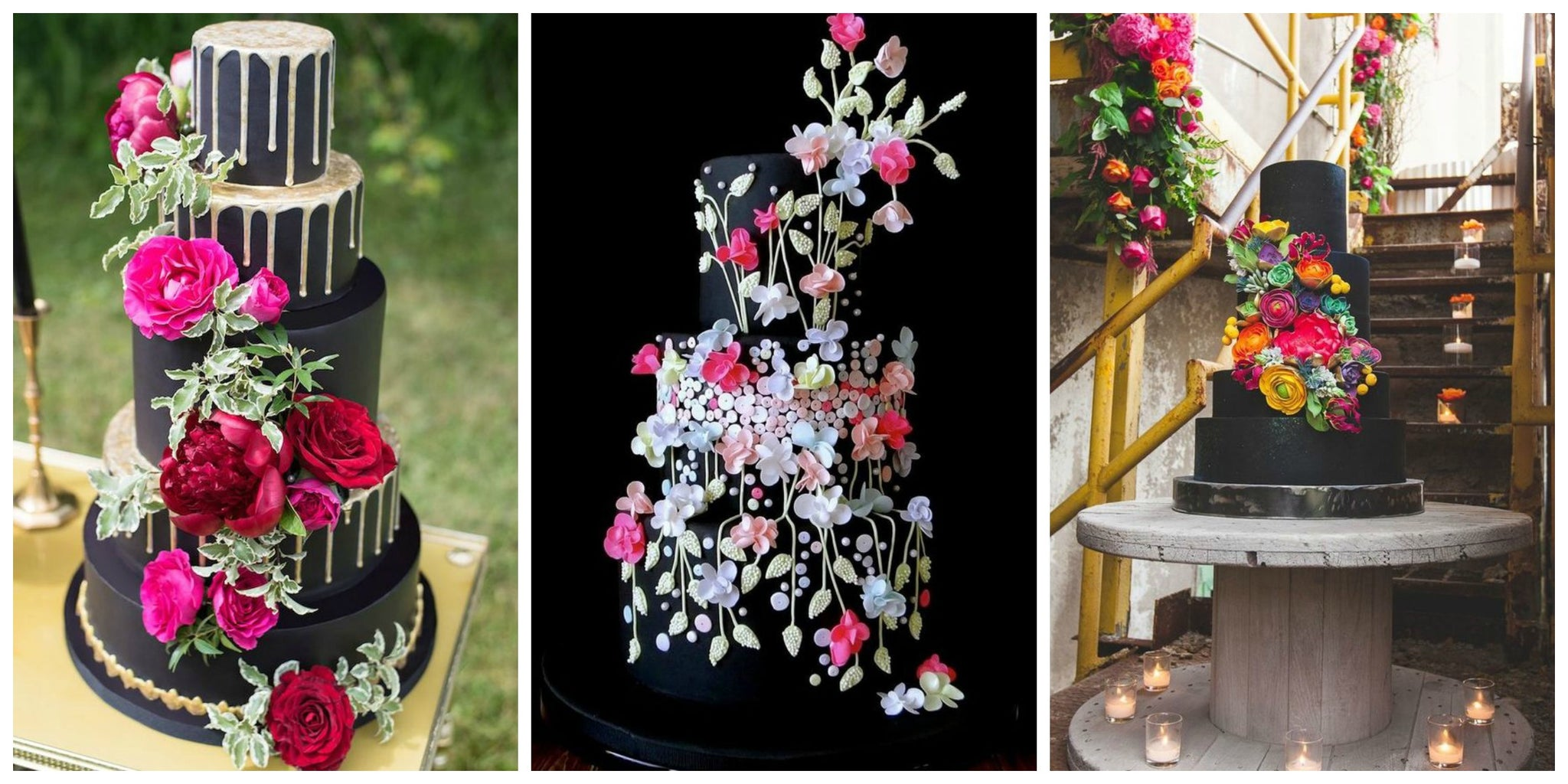 Bright Flowers On A black Wedding Cake