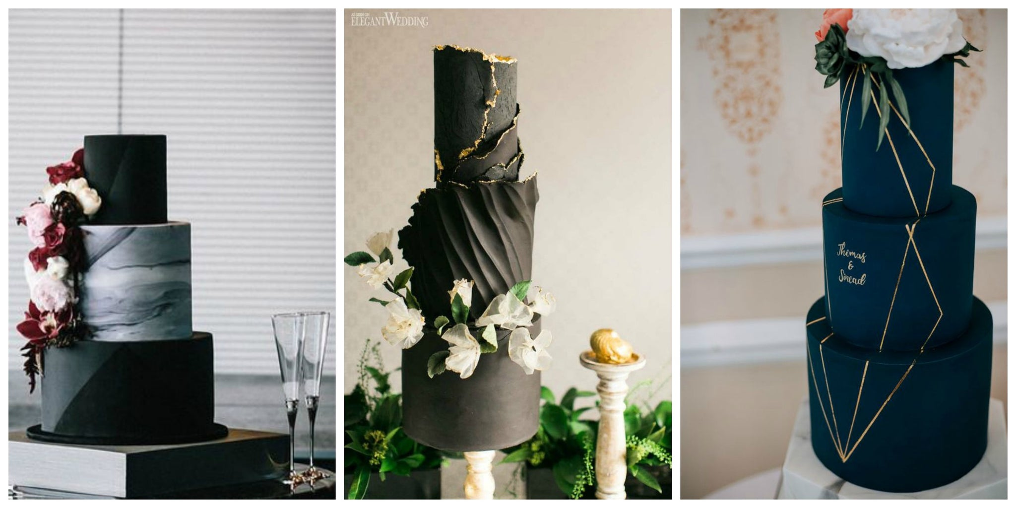 Black Wedding Cakes In Geometric Shapes