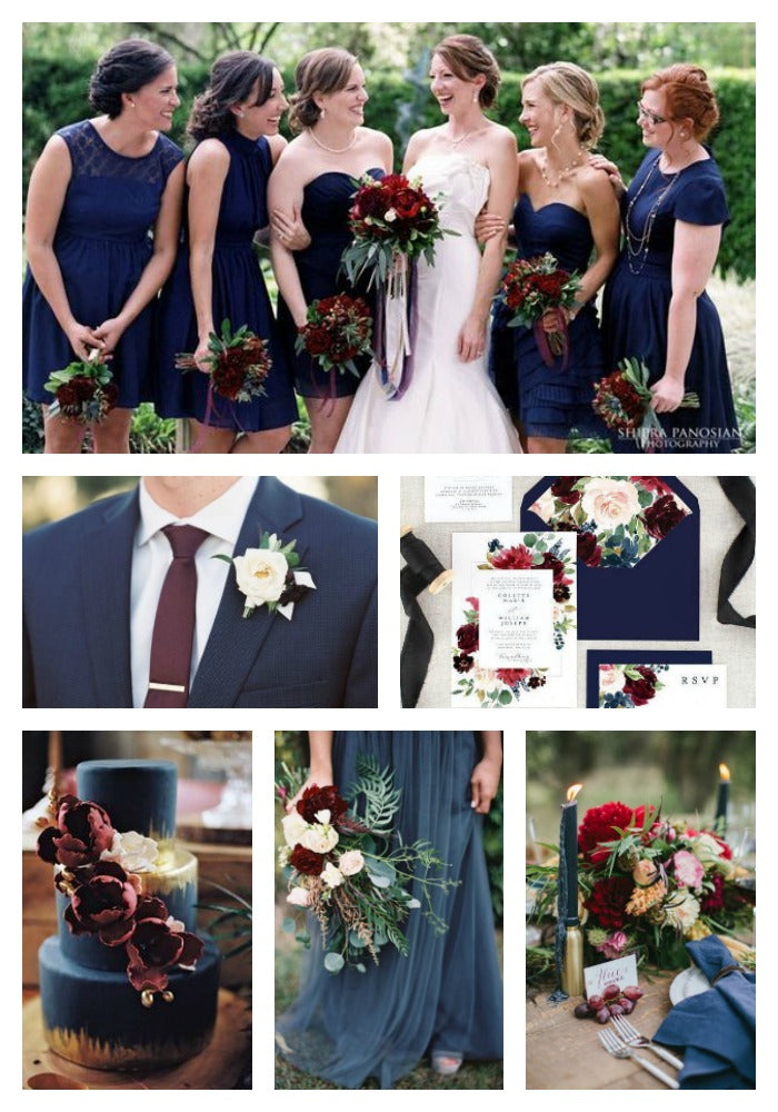 Blue and Burgundy Wedding Color Scheme