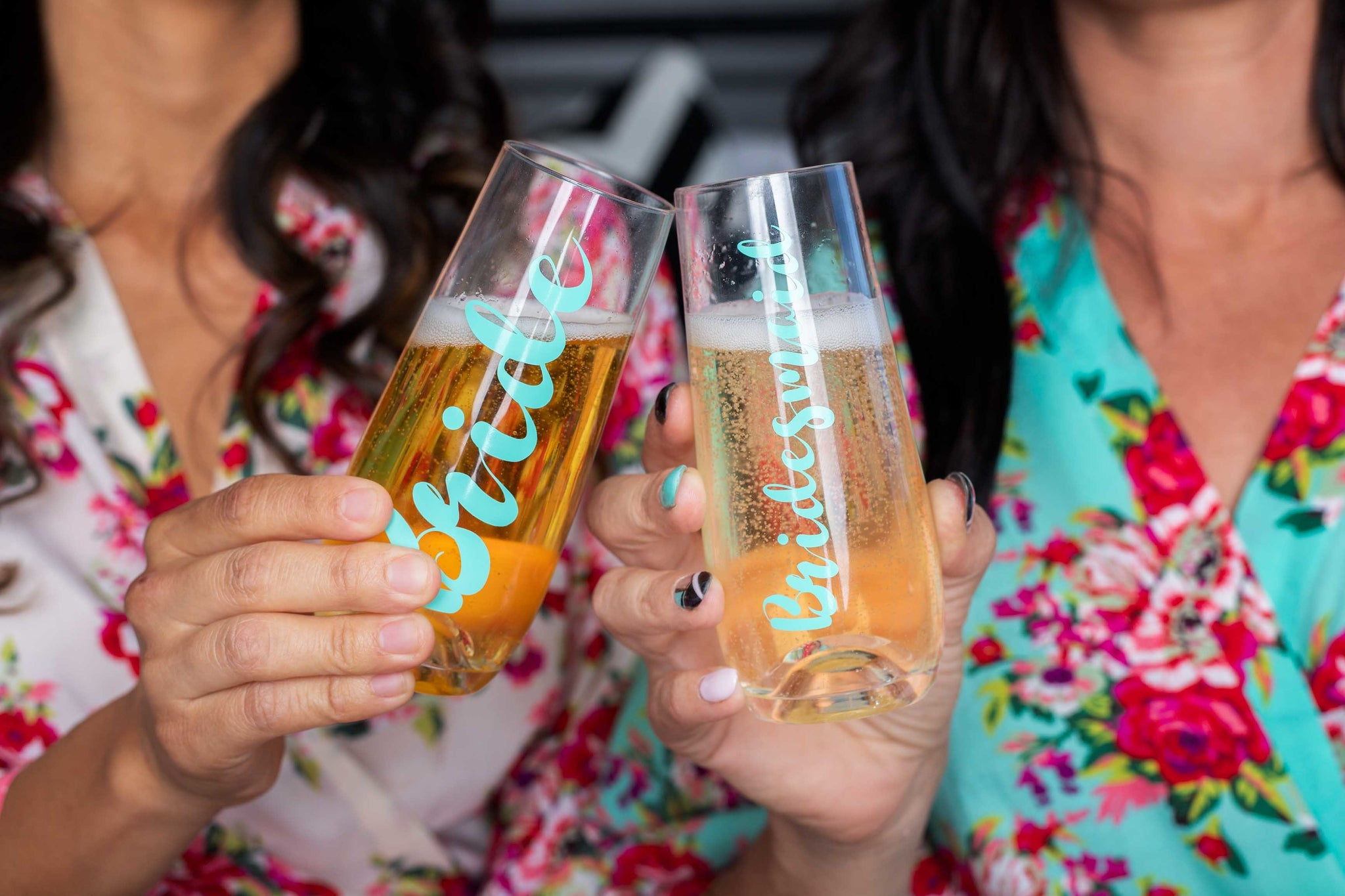 Bride and Bridesmaid Stemless Champagne Flute