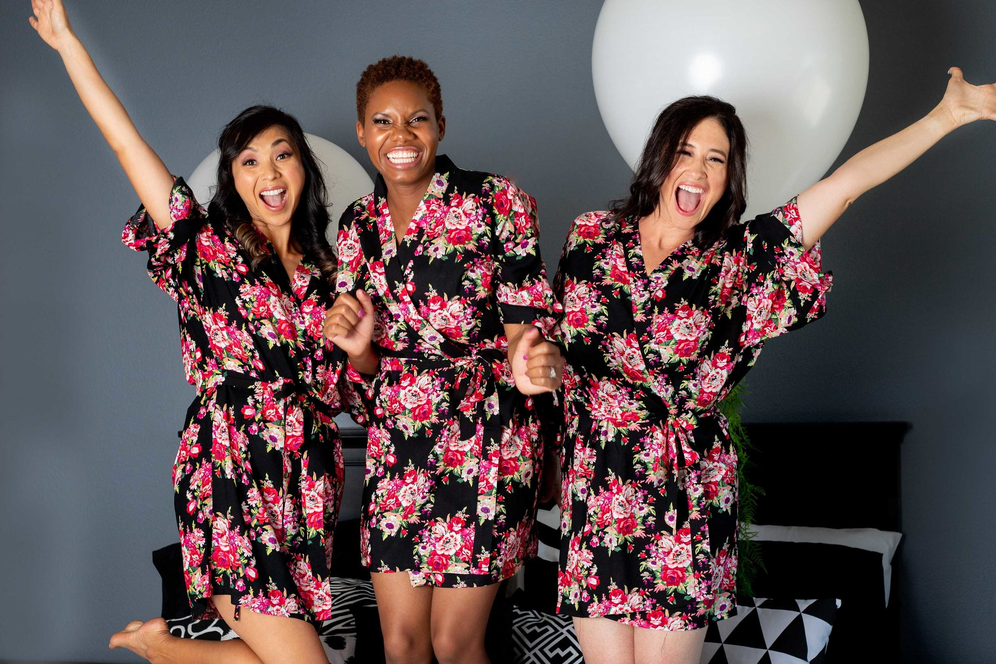 Black Floral Cotton Bridesmaid Robes For Your Bridesmaid Proposal Box