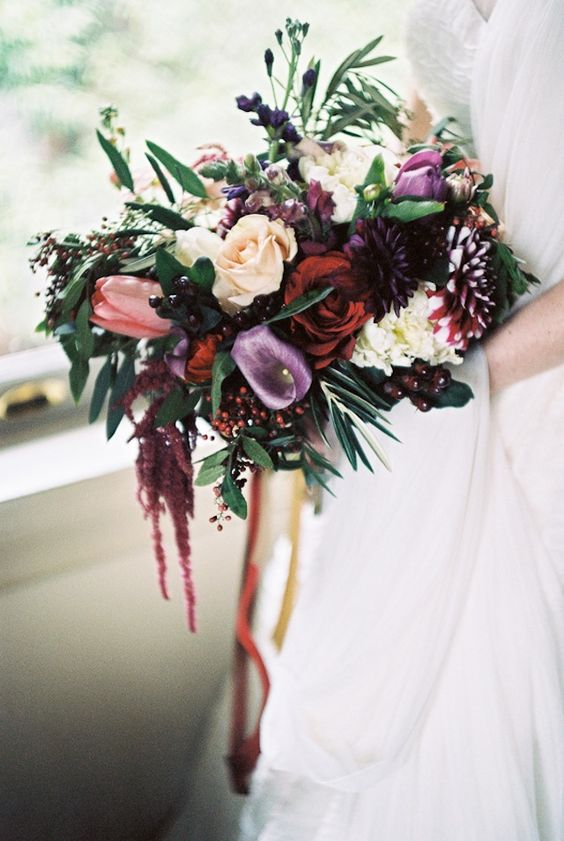 DEEP PURPLE, BURGUNDY, GOLD AND IVORY FLORAL BRIDAL BOUQUET