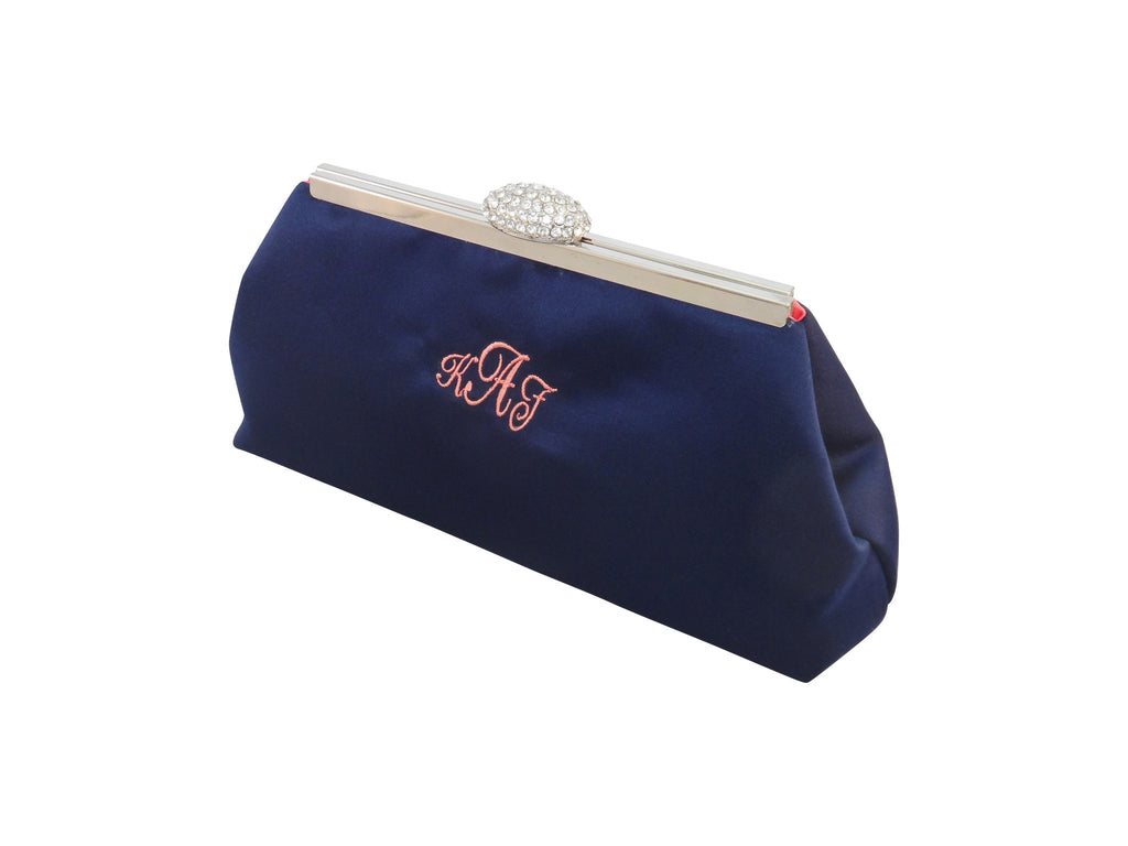 Monogram Bags - Navy Blue and Calypso Coral Monogram Clutch - Ella Winston