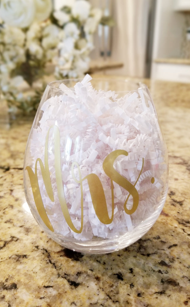Mrs. Gold Stemless Wine Glass