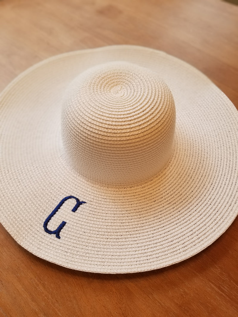 White Floppy Hats With Single Initial G, T and F