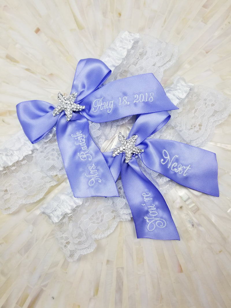 Iris Purple Starfish Bridal Garter
