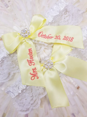 Light Yellow Personalized Bridal Garter