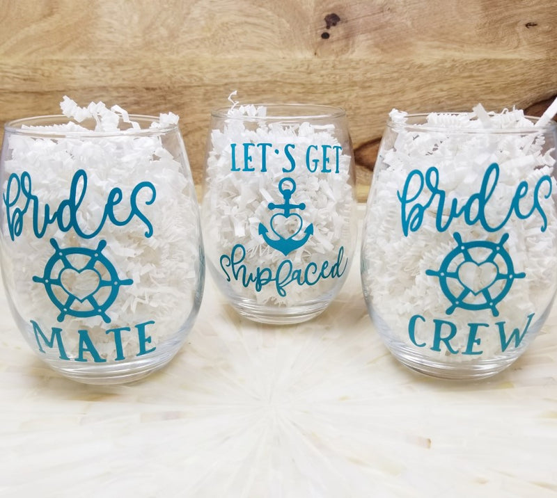 Nautical Theme Bachelorette Party Glasses