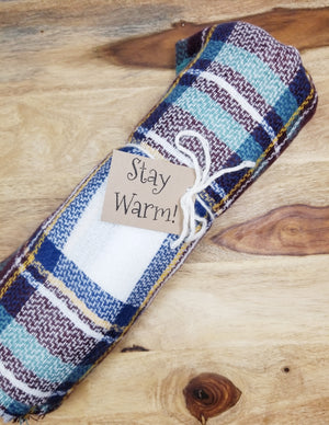 Blue/Wine Plaid Blanket Scarf With Custom Tag