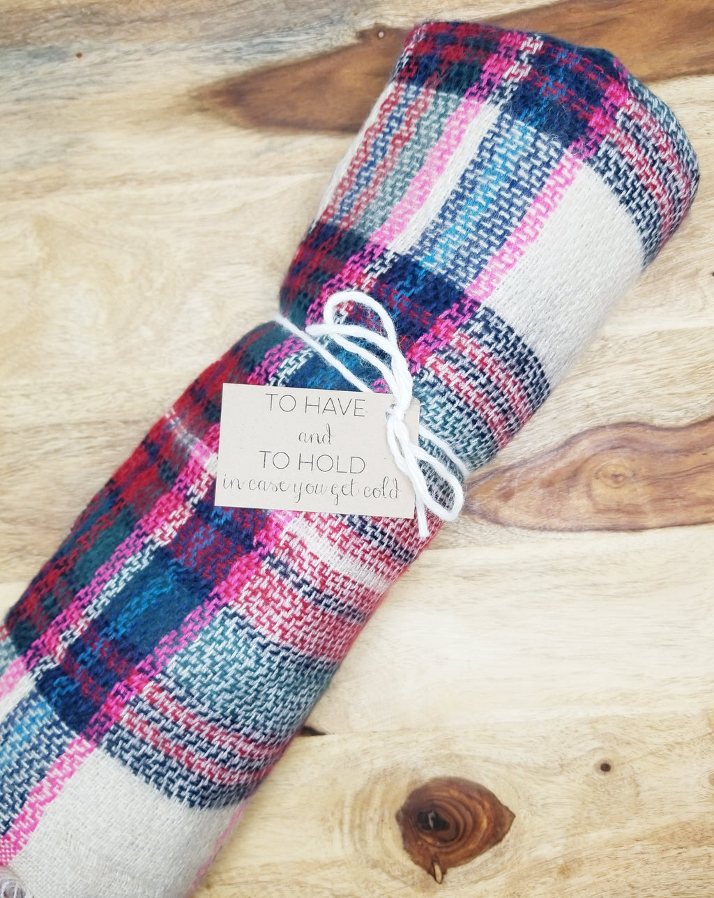 Pink/Navy Plaid Blanket Scarf