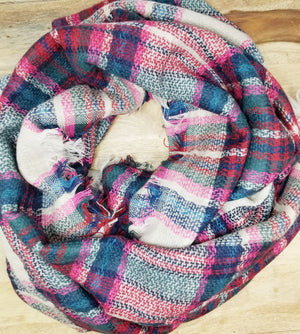 Pink and Navy Bridesmaid Blanket Scarf