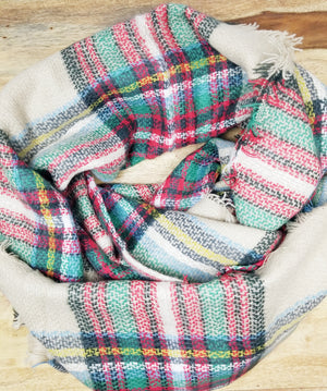 Red, Green, Tan Plaid Blanket Scarf