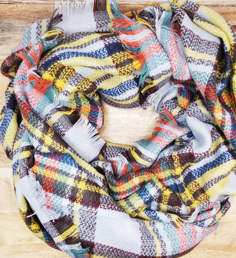 Grey, Orange, Yellow Plaid Blanket Scarf