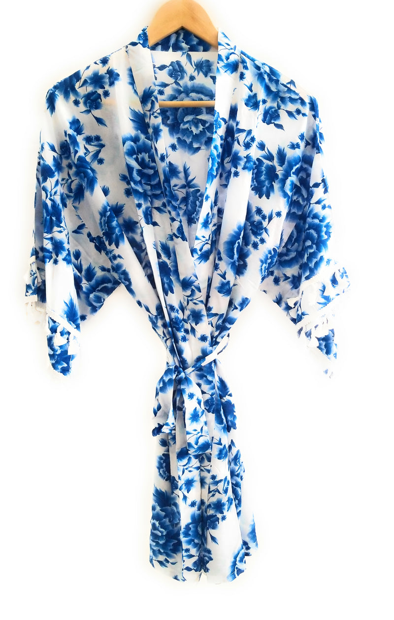 Blue Rose Floral Robe