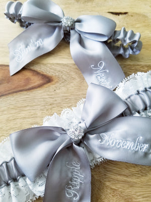 You're Next Silver Bridal Garter Set