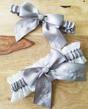 Silver Satin and White Lace Bridal Garter Set