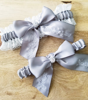 White Lace and Silver Satin Bridal Garter Set