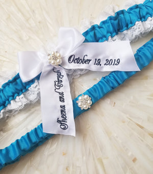 Blue Jewel and White Lace Bridal Garter Set