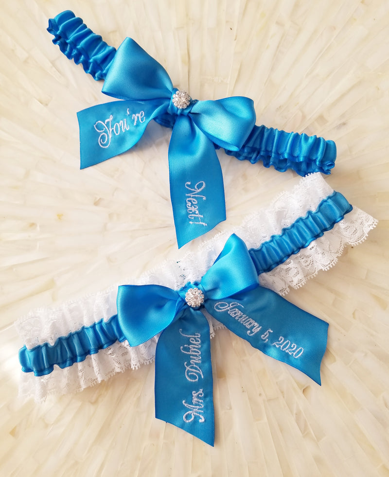Copenhagen Blue Personalized You're Next Bridal Garter