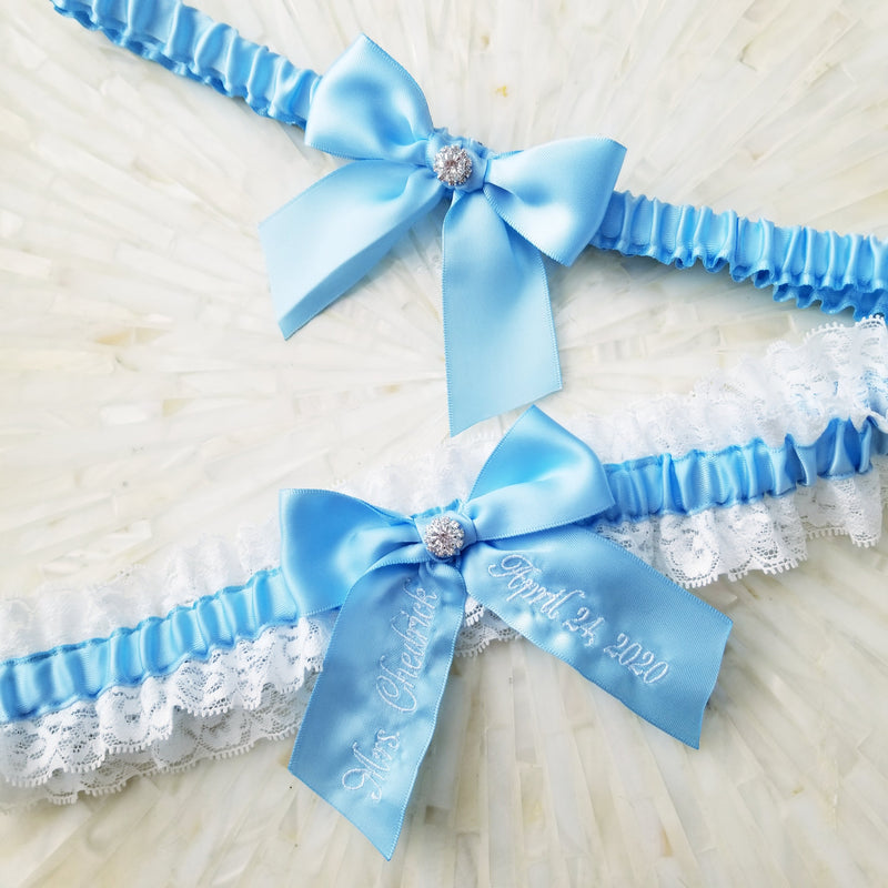 Light Blue Embroidered Bridal Garter Set