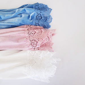 Velvet and Lace Robes in White, Rose Pink and Light Blue