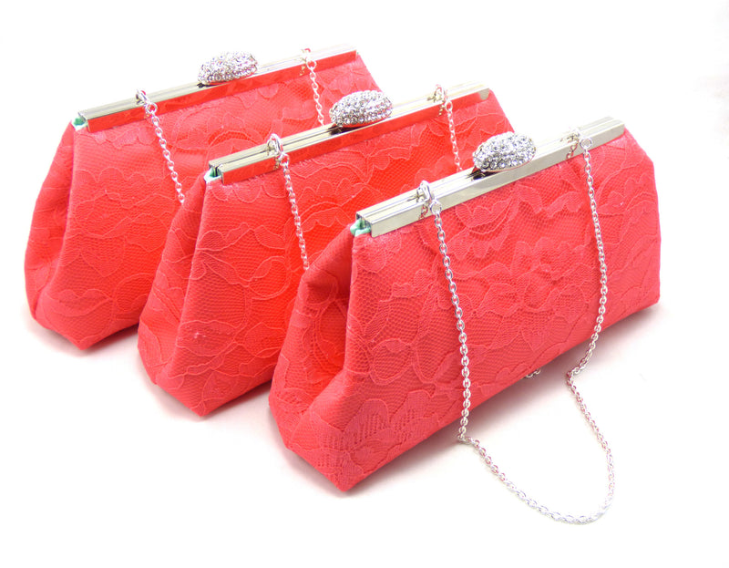 Clutches - Set of Three Calypso Coral and Mint Bridesmaid Gift Clutches - Ella Winston