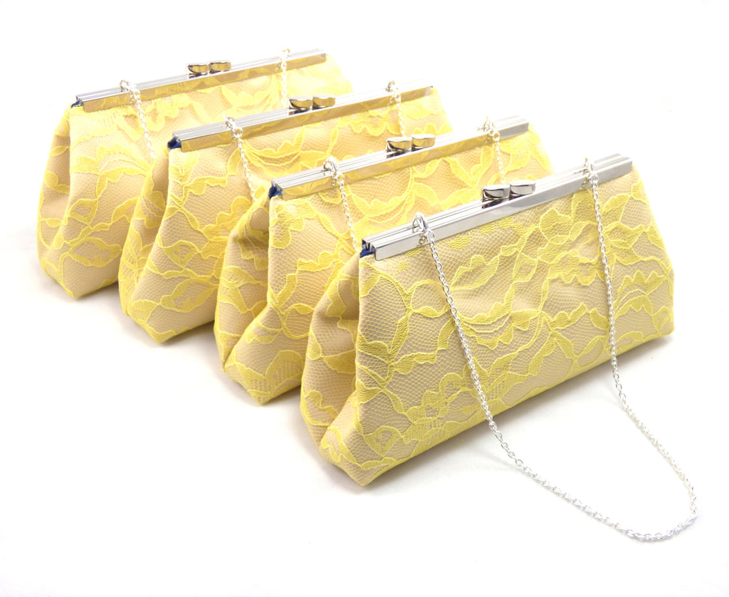 Clutches - Set of Four Champagne, Yellow Lace and Navy Blue Bridesmaid Gift Clutches 5% Off - Ella Winston