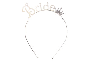 Silver Bride Crown Headband for Bachelorette party