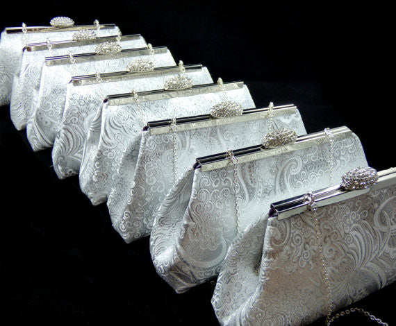 Clutches - Set of Eight Silver Paisley and Eggplant Purple Bridesmaid Gift Clutches 5% Off - Ella Winston