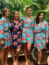 Aqua and Navy Blue Bridesmaid Robes, Bridal Robe