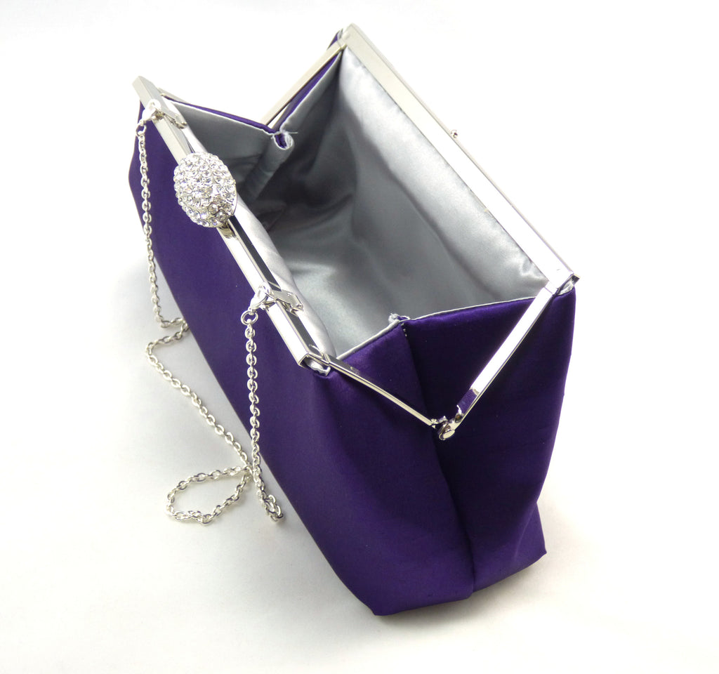 Clutches - Blackberry Purple and Silver Evening Clutch - Ella Winston