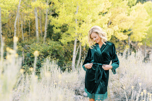 MODERN VELVET ROBES FOR THE BRIDAL PARTY
