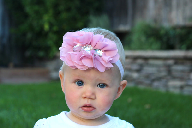 Baby Headbands - Large Chiffon and Rhinestone Baby Headband - Ella Winston