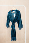 ella winston modern luxury bridal robe in dusty blue