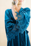 dusty blue velvet and lace wedding morning robe