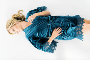 bridal photography with a dusty blue velvet robe