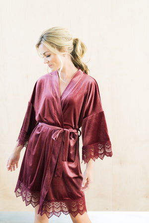 PRE-ORDER Mauve Velvet and Lace Bridal Robe