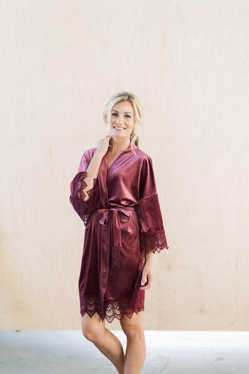 mauve velvet and lace wedding robe