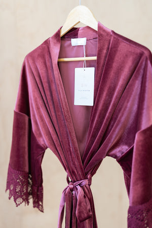 luxurious mauve velvet robe for wedding day